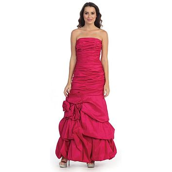 Elegant Dress Mermaid Floor Length Formal Fuchsia Gown Strapless Ruched