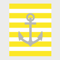 Nautical Gray Anchor Yellow Stripes Print Nursery Decor Baby Print CUSTOMIZE YOUR COLORS 8x10 Prints Nursery Decor Art Baby Room Decor Kids