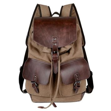 High Quality Retro Fashionable Casual Canvas Bag Microfiber Leather Women's Men's Backpack Men's High Capacity Shoulder Bag