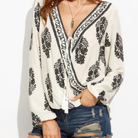 White Wrap Plunge  Printed Long Sleeve Blouse