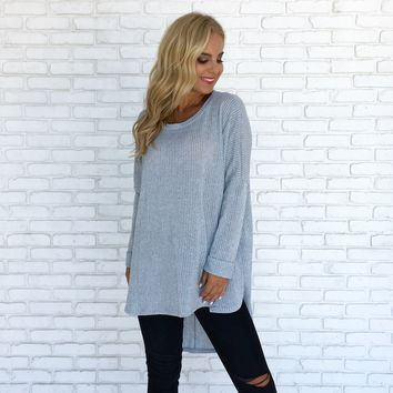 I'm Not Your Basic Knit Sweater In Blue