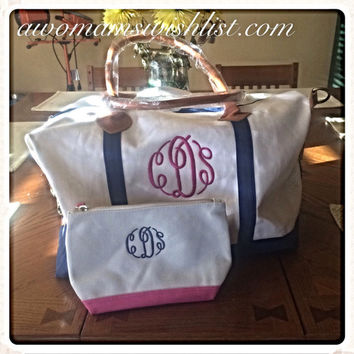 Monogrammed Canvas Weekender Travel Bag and Canvas Travel Cosmetic Case