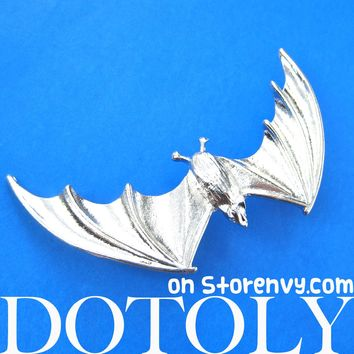 Large Bat Animal Wrap Ear Cuff in Shiny Silver | DOTOLY
