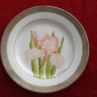 Hand Painted Porcelain Plate, Light Coral Iris 8 inch Plate Platinum Border, Kiln Fired China Plate, American Atelier Windsor Platinum 5771