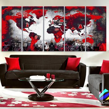 """XLARGE 30""""x70"""" 5Panels Art Canvas Print Original Wonders of the world Map Red background black & white Wall decor Home  (framed 1.5"""" depth)"""