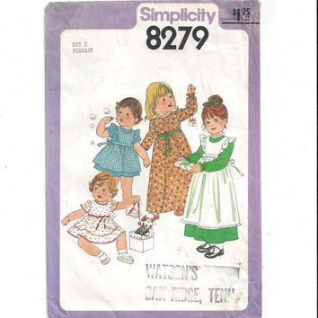 Simplicity 8279 Pattern for Toddlers' Dress, Pinafore in 2 Lengths, Size 2, From 1977, Vintage Pattern, Home Sewing Pattern, Costume Dress