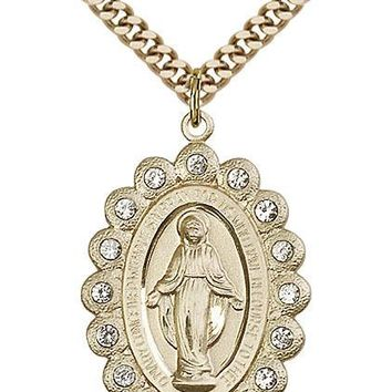 Men's Gold Filled Our Lady Grace Miraculous Virgin Mary Medal Necklace Pendant 617759875669