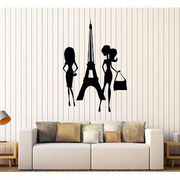 Vinyl Wall Decal Shopping Paris Woman Style Girls Eiffel Tower Stickers Unique Gift (424ig)