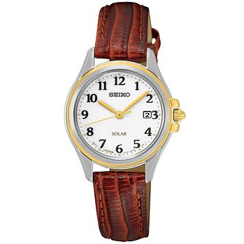 Seiko Solar Ladies Core Series Solar Watch - White Dial - Brown Leather Strap