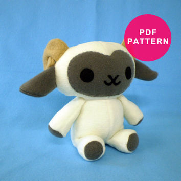 Plush Lamb Stuffed Animal PDF Sewing Pattern Sheep Ram