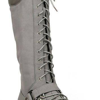 Harness Moto Vegan Leatherette Knee High Lace Up Harness Moto Women's Boot