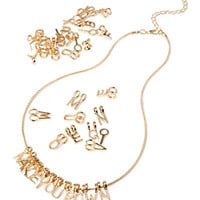 FOREVER 21 Alphabet Charm Necklace Gold One