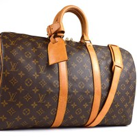 Auth[Good]LOUIS VUITTON Keepall 45 M41418 Boston w/Lock Key Strap etc(Used)55887