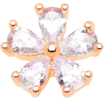 14 Gauge Clear CZ Gem Lovely Bloom Rose Gold Tone Dermal Anchor Top