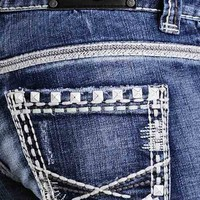 Rock & Roll Cowgirl Low Rise Boot Cut Jeans with Nailheads and Embroidery - Medium Wash (Closeout)
