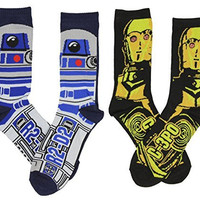 Star Wars Men's C-3PO & R2-D2 Casual Crew Socks 2 Pack