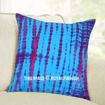 Plum Multi Shibori Indigo Throw Pillow Cover 16X16 Inch on RoyalFurnish.com