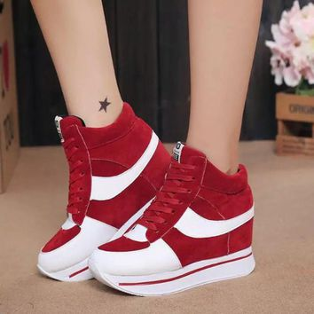 High Top Ladies Canvas Casual Shoes with Platform Wedges High Heel
