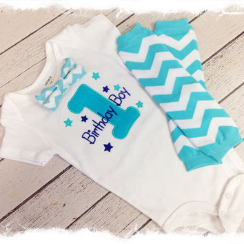 Baby BOYS FIRST BIRTHDAY Outfit-Boys 2 Pc Bow Tie Birthday Outfit-Aqua Chevron Birthday-Birthday Boy Bodysuit with Crawlers