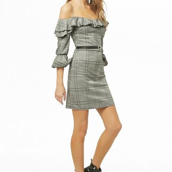 Glen Plaid Open-Shoulder Mini Dress