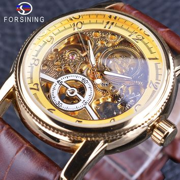Forsining Classic Royal Retro Series Golden Case Skeleton Watch Brown Genuine Leather Men's Automatic Creative Watch Clock Male