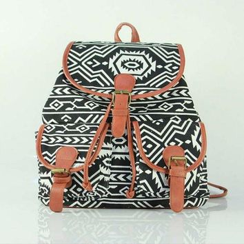 Day-First™ Cute Geometry Large College Backpacks for School Bag Canvas Daypack Travel Bag