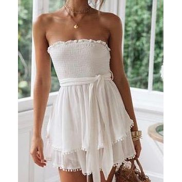 smocking hot romper in white