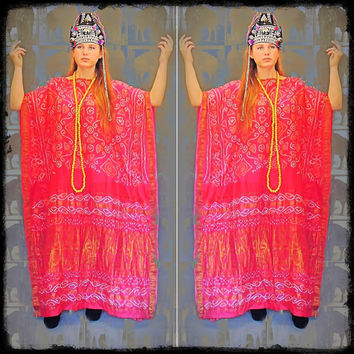 Hand made vintage silk caftan / vivid oversize dress / detailed pink gold metallic soft Indian sari / ethnic tribal gypsy hippie gown