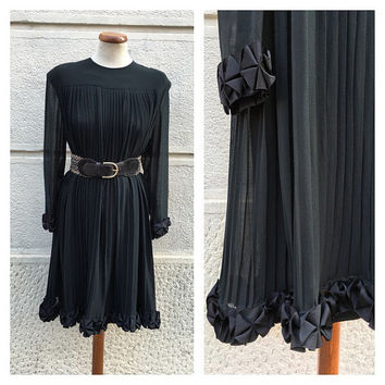 CELINE - 70s Celine Dress - Celine Plated Silk Dress - Vintage Celine Black Dress Size M L