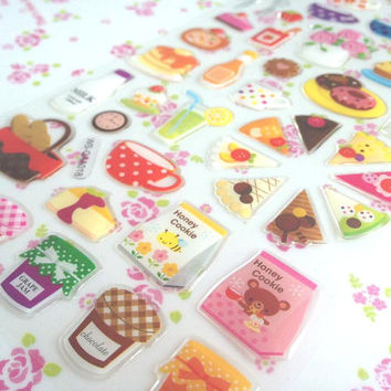 Yummy food picnic time sticker tea time dessert slide cakes Fresh jam Grocery store label shopping list food sticker cooking recipes icon