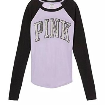 Victoria's Secret Pink Bling Baseball Tee, Purple/Black