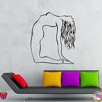 Wall Stickers Vinyl Decal Naked Girl Yoga Pose Fitness Sport Decor (z1944)
