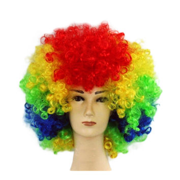 Fashion Afro Cosplay Curly Clown Party 70s Disco Cosplay Wig Cheering Squad Clown   rainbow