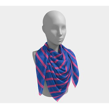 Striped Square Scarf - Pink on Blue