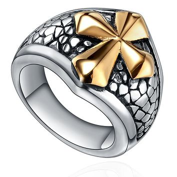 Stainless Steel Gold Color Cross Ring