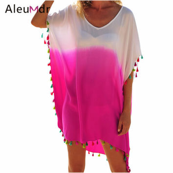 Aleumdr Summer Style 2017 Seaside Beach Dress Tunic Female Dress Tassel Women Beach Cover-up Skirts LC42161 Saida De Praia