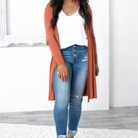 Areli Effortless Dressy Cardigan | Brick