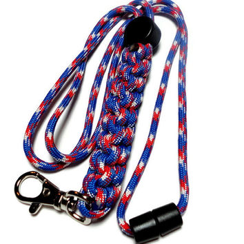 Mens Lanyard Red White and Blue 550 Paracord Military Grade Breakaway Clasp Cord Stopper Handmade USA Patriotic