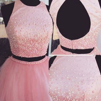 Pink Homecoming Dress, Scoop Neck Tulle Pearl Detailing Two Piece Homecoming Dresses