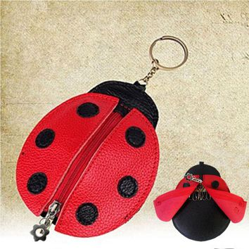 wulekue Kids Favors PU Ladybug Children Coin Purse Wallet Bag Ladies Cute Cartoon Portable Pendant Keychain Bags