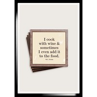 I Cook With Wine Copper & Glass Coasters, Set of 4