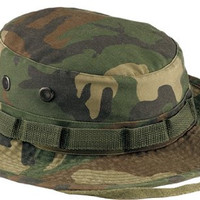 Woodland Camouflage Army Vintage Boonie Hat 5900 Size 7 1/4