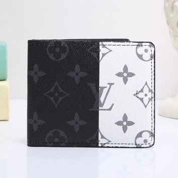 Louis Vuitton LV Classic Fashionable Women Men Leather Purse Wallet