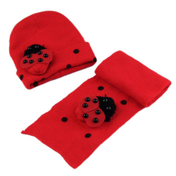 NEW Red Baby Boy Girl Toddler Winter Ladybird Ladybug Hat and Scarf Set
