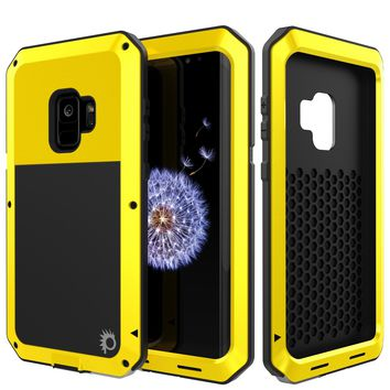 Galaxy S9 Metal Case, Heavy Duty Military Grade Rugged Armor Cover [Neon]