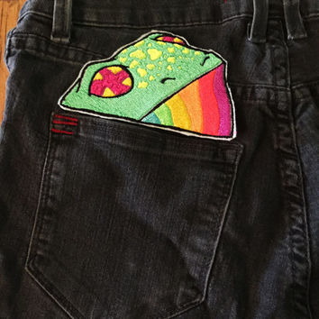 Frog in your Pocket Iron on Embroidered Patch