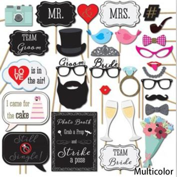 Creative Funny 31pcs DIY Paper Mustache Glasses Wedding Decoration Christmas Party Supplies Birthday Favors Photo Props PY0117