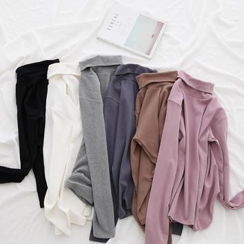 Basic Thermal Brushed Cotton Turtleneck Tops Women Long Sleeve Layering Shirt Fall Winter T Shirt Essential Solid Colors
