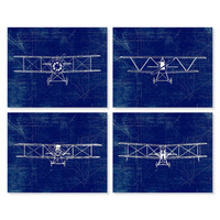 Airplane Art Print, Plane Art, Blueprint Wall Art, Aviation Set of Four 5x7, 8X10, 11x14 Nursery Decor, Boys Wall Decor Transportation Print