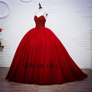 Luxury Crystal Ball Gown Red Bling Princess Beading Wedding Dresses Gown Bridal Wedding Gown